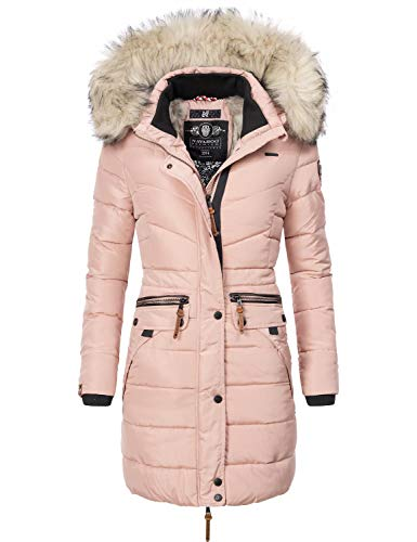 Navahoo Damen Winter Mantel Steppmantel Paula (vegan hergestellt) Rosa Gr. XL