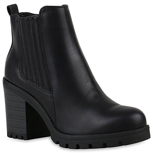 stiefelparadies Damen Stiefeletten Chelsea Boots Wildleder-Optik Schuhe High Heel Booties Profilsohle 105430 Schwarz 39 Flandell