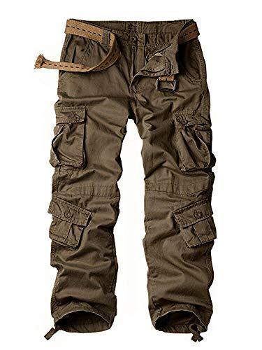 Pantalones tácticos para mujer, de algodón, casuales, de trabajo, pantalones militares, de combate, 8 bolsillos, Marrón, 18