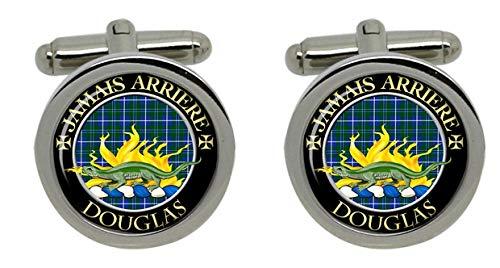 Douglas Clan Chrome Boutons de manchette pour homme avec coffret cadeau