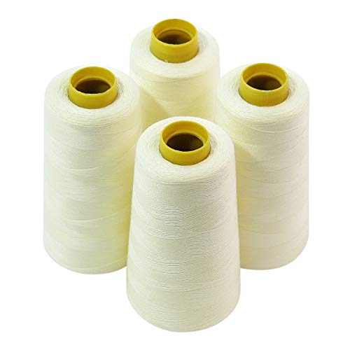 White Heallily 3000 Yards Polyester Sewing Thread Spool High Strength Floss Cone for Serger Overlock Quilting Sewing Machine
