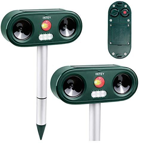 INTEY Répulsif Chat (2 PCS) avec 5 Fréquences Réglables, Répulsif Animaux Ultrason Sonore avec LED Lampe, 3 Moyens de Charge, Répulsif pour Chats, Chiens, Souris, etc, Meilleur Compagnon pour Jardin