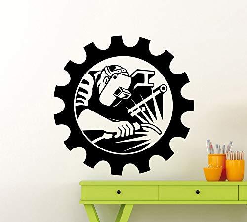 YuanMinglu Mann Schweißer Schweißen industrielle Wandaufkleber Kunst Vinyl Design Wohnzimmer Wandmalerei Home Beauty dekorative Wandtattoo 63x63cm