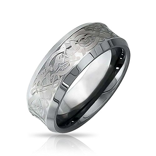 Personalized Celtic Knot Dragon Inlay Couples Concave Titanium Wedding Band Rings Comfort Fit 8MM Custom Engraved