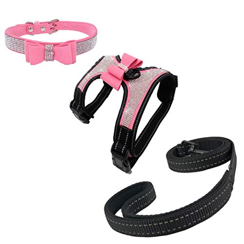 Newtensina 3pcs Bow Ties Bling Cute Dog Harness and Dog Collar with Lead for Dog - Pink - M