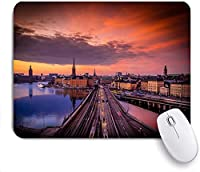 Mabby マウスマット Gaming Office Mouse Pad,Sunset, Gamla Stan, Stockholm, Sweden,Non-Slip Rubber Base Mousepad for Laptop Computer PC Office,Cute Design Desk Accessories
