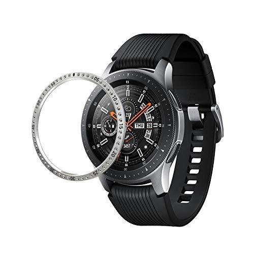 YGM AYDD para Galaxy 42mm / Engranaje S2 de Acero Inoxidable 304 Anillo y Reloj de Protector de Reloj de Diamante (Color : Silver)