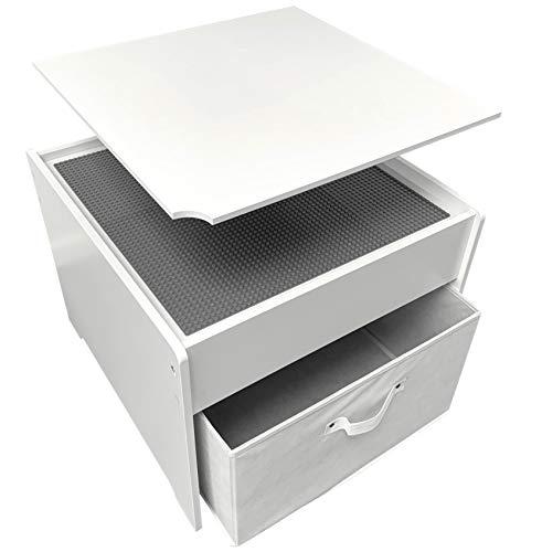 Fridakids 2in1 Spieltisch aus MDF-Holz, Bauplatten kompatibel für Bausteine, inklusive Aufbewahrungsbox. Platten: (Grau)