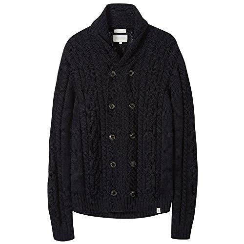 Peregrine Made In England Knitted Aran Cardigan Medium Navy