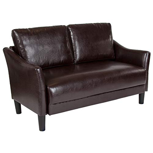 EMMA + OLIVER Living Room Loveseat Couch with Single Cushion in Brown LeatherSoft