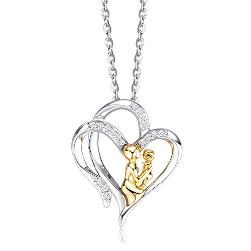 Mother and Child Necklace, 925 Sterling Silver Double Heart pendant, 5A Cubic Zirconia Jewellery for Women, Gifts for Mum