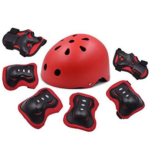 Bellanny Casco Skateboard 7 Piezas Kit de Protección, Rodilleras, Coderas y Protección de Muñeca para IR con Patines, Bici, Patineta o Patinete y Deportes Extremos para Niños de 3 a 13 Años, Rojo