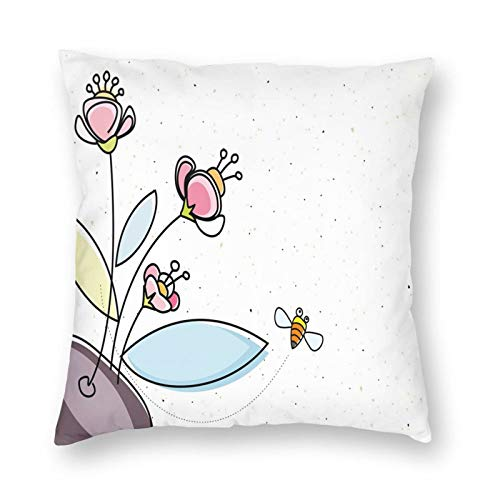 GULTMEE Flower Pot with Blossoms Leaves and Bees Flying Around Summer Season Inspirational Printed Throw Pillow Square Decorative Pillow for Sofa, Chair, Daybed, 18x18 in
