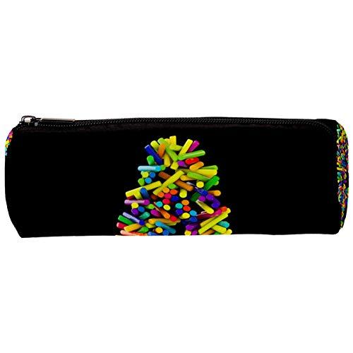 Estuche portátil para lápices Letras pastel estudiantes de niñas Cilindro Papelería Bolsa de Cartuchera Cosmetic Pouch Vistoso práctico 20x6.3cm