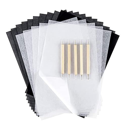 150 Hojas A4 Papel Transfer de Carbón Negro y Papel Calco con 5 Piezas Relieve Stylus Pen, para Madera Papel lienzo y Copia de Seguimiento de Otras Superficies de Arte