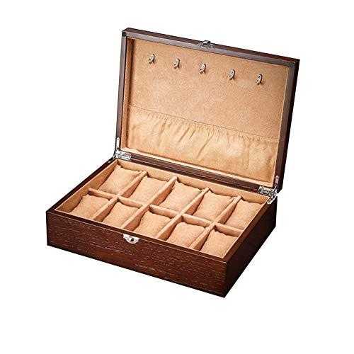 JIAYU Caja Relojes-Caja Reloj Caja De Reloj De 10 Ranuras Caja De Presentación De Reloj Pulsera Cierre De Bloqueo De Madera Hombres Y Mujeres Reloj