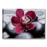 Quadri L&C ITALIA Quadro per Bagno Zen con Sassi e Orchidea Viola 70 x 50 Stampa su Tela da Parete Centro Estetico Spa - Fiori Pietre Nere 3
