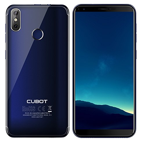 CUBOT R11-5,5 inch HD (18: 9 ratio) Android 8.1 Smartphone, 1,3 GHz Quad Core 2 GB RAM 16 GB ROM, drievoudige camera's (8MP + 2MP + 13MP), 2800mAh batterij - blauw