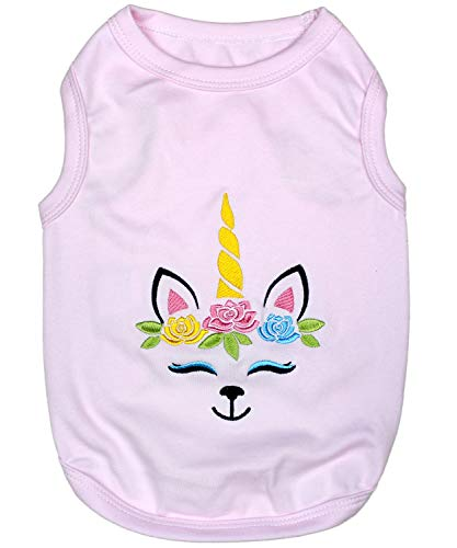 Parisian Pet Dog Summer Clothes | 'Unicorn' Funny Dog Tshirt with Embroidery Pattern, Size XL