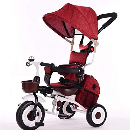 Triciclos 3 en 1 triciclo plegable para niños 1 a 6 años Cinturón de seguridad de 2 puntos Pedal para niños triciclo plegable Parrilla para el sol Barra ajustable para manijas Manijas antidesl