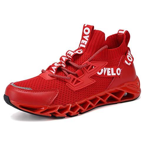 WateLves Męskie damskie buty sportowe, do biegania po ulicy, do biegania, tenisówek, do chodzenia po terenie, - Lp czerwony - 44 EU