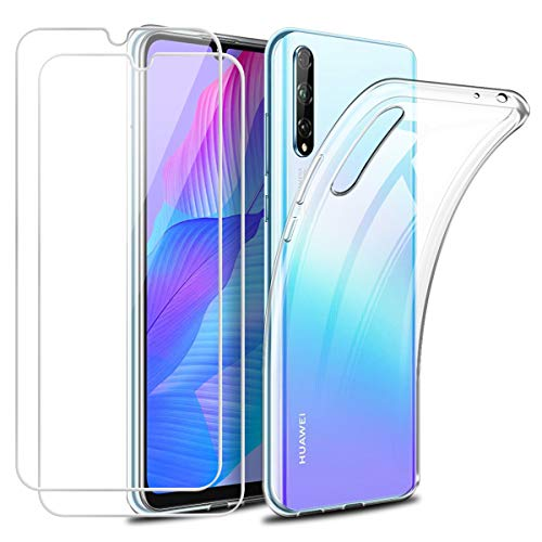 Funda para Huawei P Smart S ( 2020 ) Con Dos Cristal Templado Protector de Pantalla,Suave TPU Transparente Gel Silicona Anti-arañazos Protectora Carcasa para Huawei P Smart S 2020 (6,3 Pulgadas)