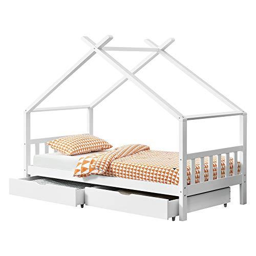 [en.casa] Lit d'enfant avec 2 Tiroirs Design Maison Pin Blanc Mat 206x98x160cm
