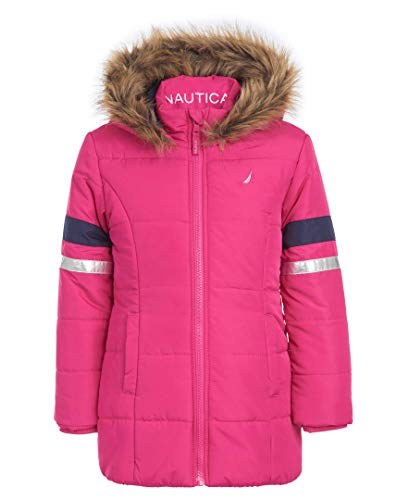 Nautica Toddler Girls Heavy Weight Long Length Jacket with Faux Fur Hood, Medium Pink, 2T