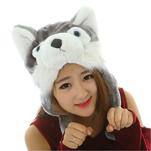 かわいい ふわふわ もこもこ アニマル キャップ 動物 被り物 クリスマス パーティー イベント かぶりもの 着ぐるみ 選べる タイプ (オオカミ)