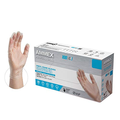 AMMEX Clear Vinyl Medical Gloves, Box of 100, 3 Mil, Size Large, Latex Free, Powder Free, Disposable, Non-Sterile, Food Safe, VPF66100-BX