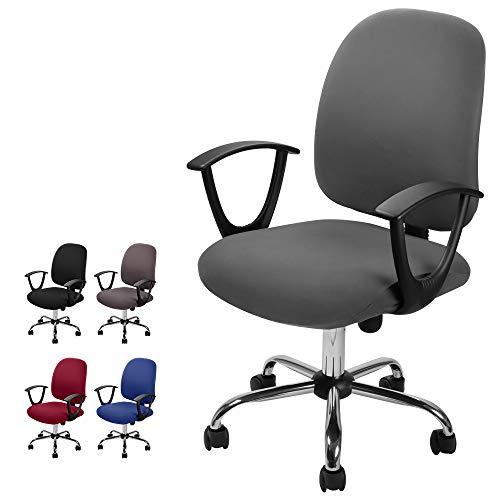 Computer ufficio sedia della copertura coprisedia elasticizzato rimovibile Copertina Cover da Sedile Coprisedia separato in stile semplice e moderno, per sedie da ufficio girevoli (Grigio, 2)