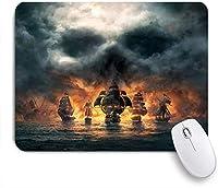 ECOMAOMI 可愛いマウスパッド 正面から正面に来る海賊船のホラー3Dイラスト 滑り止めゴムバッキングマウスパッドノートブックコンピュータマウスマット