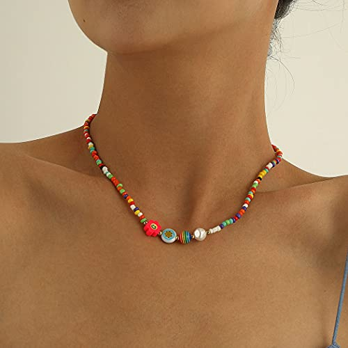 Ushiny Boho Collares con cuentas Collares de perlas de flores coloridas Collar de cuentas vintage Joyería de cadena para mujeres y niñas