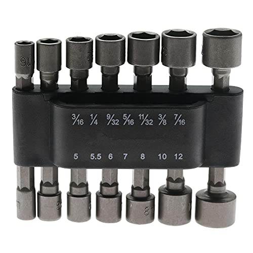 14pcs Power Nut Driver Drill Bit Set Metric Socket Llav Fund Tornillo 1/4 pulgada Testornillador de vástago NutDrivers Herramienta de mano Herramienta de carpintería