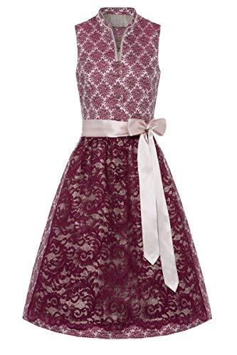 Lieblingsgwand Moser Trachten Polyester Midi Dirndl 65er Bordeaux Taupe Riana 004750 - limitiert, Rocklänge: ca. 65 cm, mit Knopfleiste, Größe 42