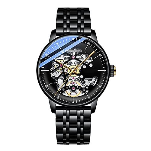 WNGJ Reloj mecánico, Reloj Deportivo de Cuarzo Suizo para Hombre con Correa de Acero Inoxidable, envíe una Hermosa Caja, un Regalo imprescindible para Amigos Black