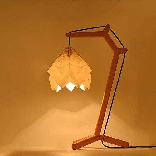 N/Z Equipo Diario Lámpara de Mesa Hecho a Mano Origami Personalidad de Madera Flores Blancas Lámpara de Mesa de Color Madera Lámpara de Mesa de decoración de luz Nocturna Creativa Simple