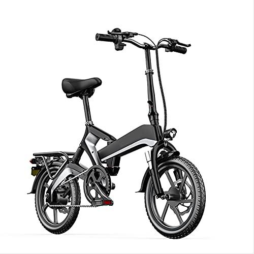 Bicicleta Eléctrica, 500 W Bicicleta Eléctrica Plegable De 16 Pulgadas Amortiguador Hidráulico Aleación De Magnesio Bicicleta Eléctrica Para Adultos Con Batería De Litio Extraíble De 48 V,Negro