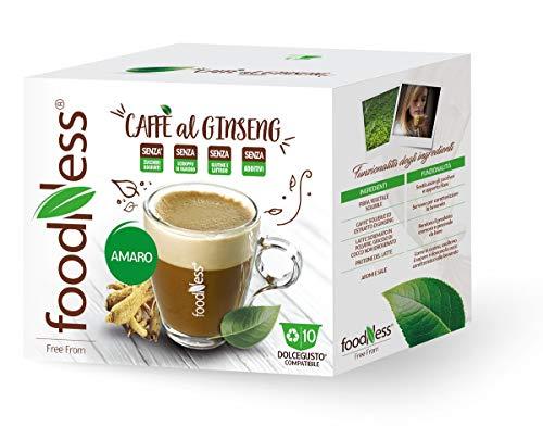 FoodNess - Capsula Caffè al ginseng amaro compatibile con sistema Dolce Gusto senza glutine, lattosio e zuccheri aggiunti(4 box Tot. 40 Capsule)