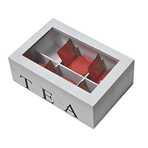 ALANEK 6 Compartimentos Cofre de té de Madera Organizador de té Caja de Almacenamiento de Madera con Tapa Visible Organizador Hecho a Mano de Estilo de té Joyería Café 24 * 16 * 8 CM