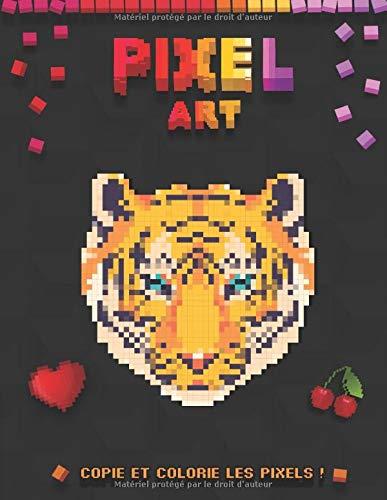 Pixel Art - Copie et colorie les pixels !: Livre coloriage pour enfants à partir de 5 ans et adultes   Modèles dinosaure, panda, arc-en-ciel, licorne ...   Coloriage anti-stress   Idée cadeau