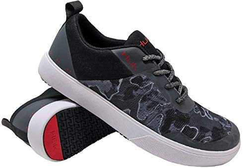 Huk Men's Mahi Lace-Up Shoe | Wet Traction & Lightweight Performance Fishing Shoes, Hannibal/Red, 8.5