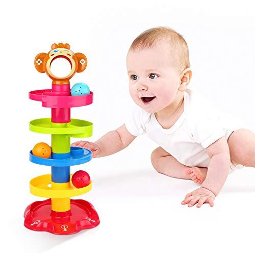 YGJT Juguete de Niño 1 año Niña Niño Juguete de Construcción de Pista de Bola Centro de Actividades Divertidas Interactivo Regalo de Cumpleaños por 1-3 años (Juguete Mono)