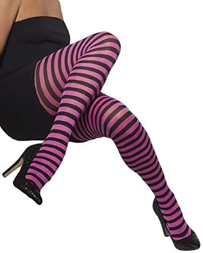Dames Rood Groen Oranje Roze Paars Zwart Wit Gestreepte Halloween Fancy Jurk Panty's