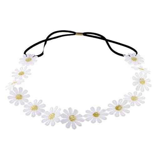 Jili Online White Daisy Hairband Headband Elastic Flower Hair Garland for Bridal Wedding Festival