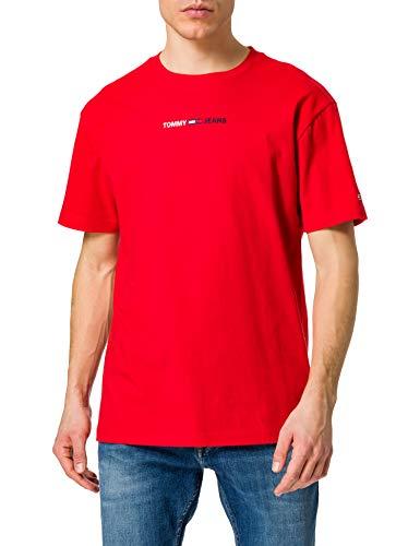 Tommy Jeans Herren TJM LINEAR LOGO TEE T-Shirt, Deep Crimson, XL