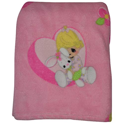 Precious Moments Super Soft and Comfy Pink Fleece Baby Blanket, Girl Hugging Rabbit