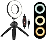 Gymqian Lámpara de Luz de Anillo Led de 4,6 Pulgadas Portátil 3 Modos de Luz Brillo Regulable con Mini Soporte de Trípode Selfie Light para Video de Transmisión en Vivo ligero