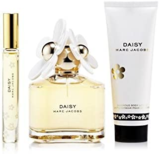 Marc Jacobs Daisy for Women, 3 Piece Mini Gift Set 3.4oz EDT Spray, 5.1oz Luminous Body Lotion, 4ml Mini EDT Splash, 3 count