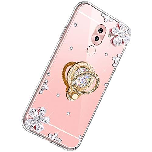 Herbests Kompatibel mit Huawei Honor 6X Hülle Glitzer Mädchen Schuzhülle Spiegel Bling Glitzer Strass Diamant Blumen Transparent TPU Silikon Handyhülle Ring Halter Ständer,Rose Gold